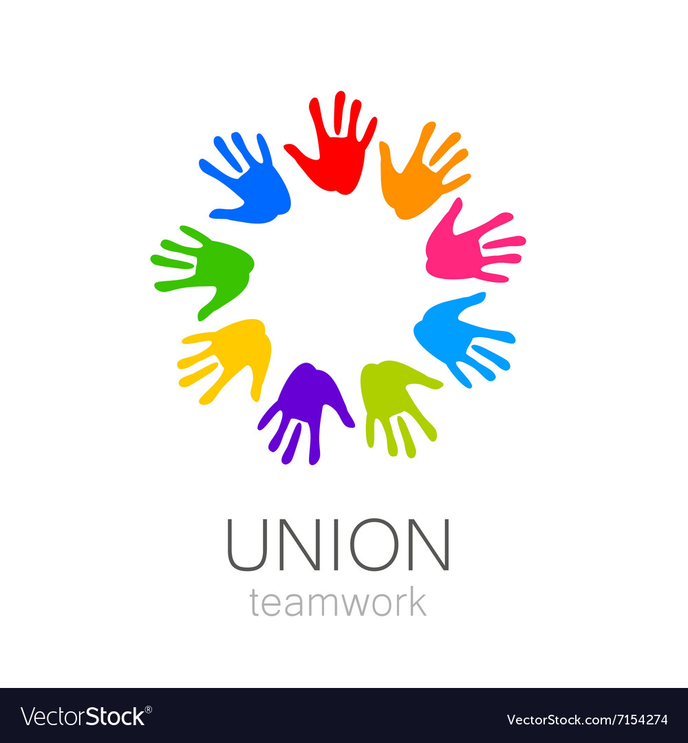 Union hands teamwork logo template Royalty Free Vector Image