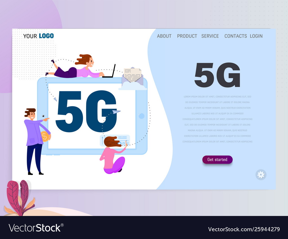 5g connected concept with characters landing page