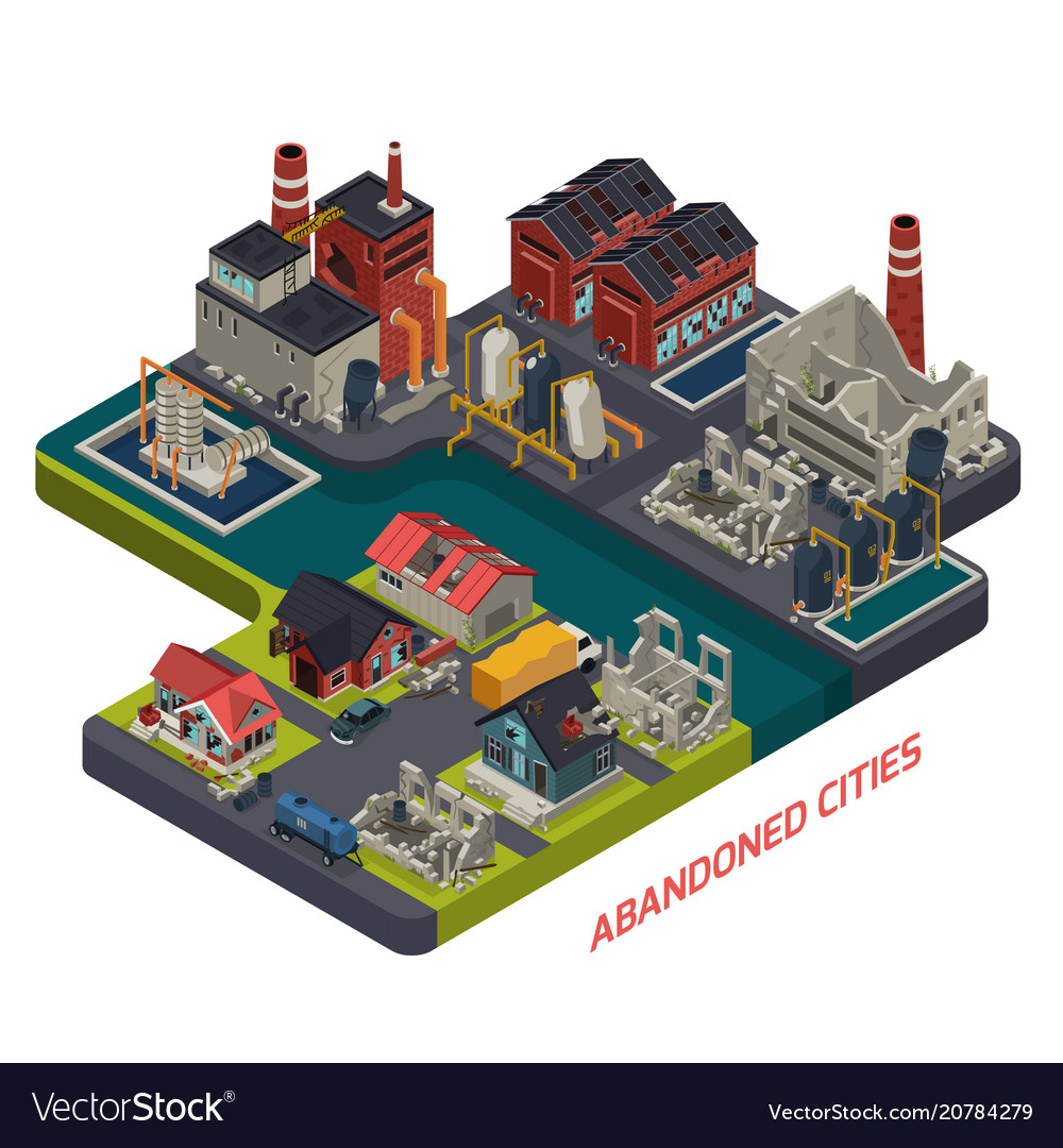 Abandoned cities isometric composition