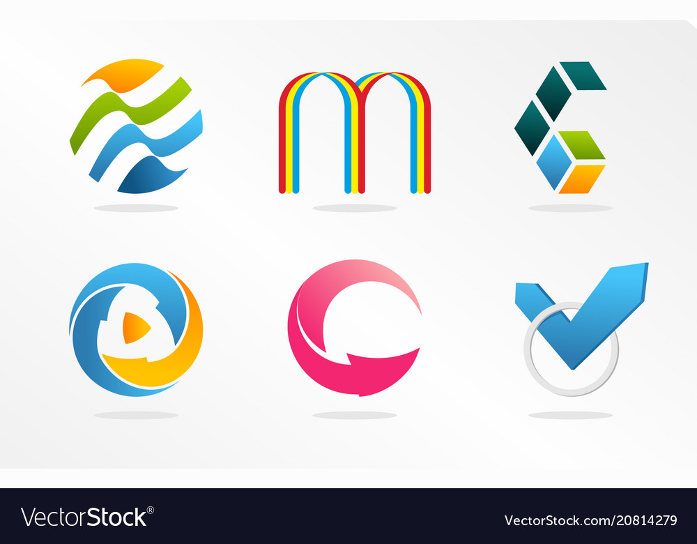 Abstract logos collection colorful unusual