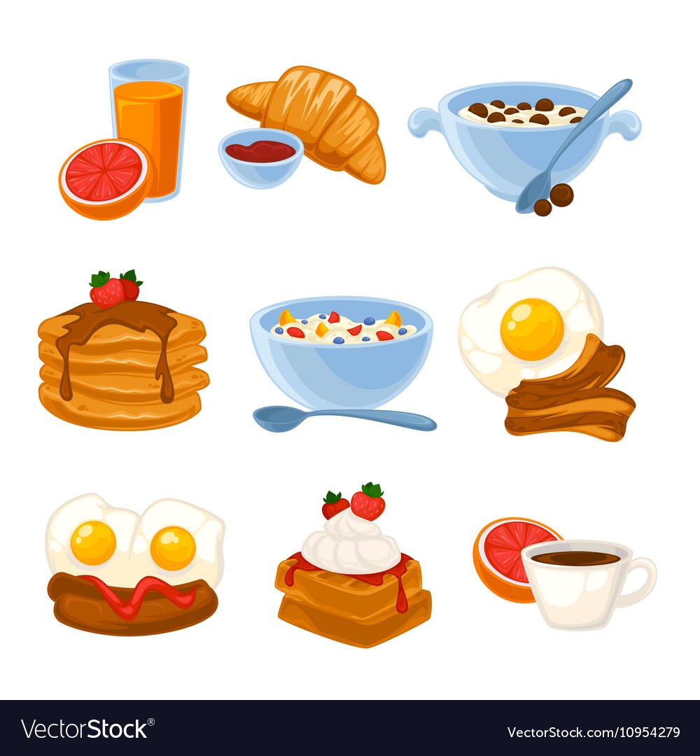 Breakfast food set vector image
