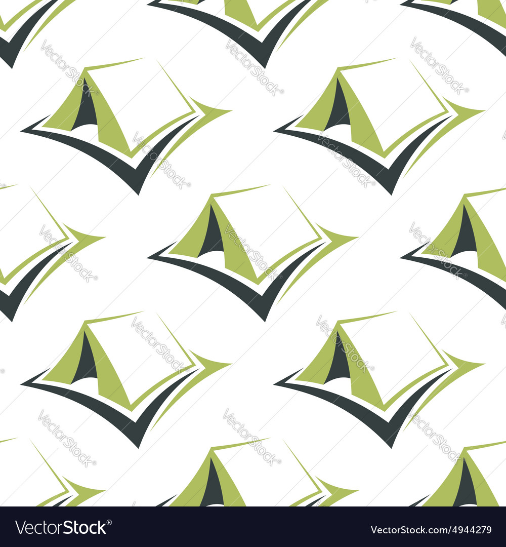 Camp green tents seamless pattern