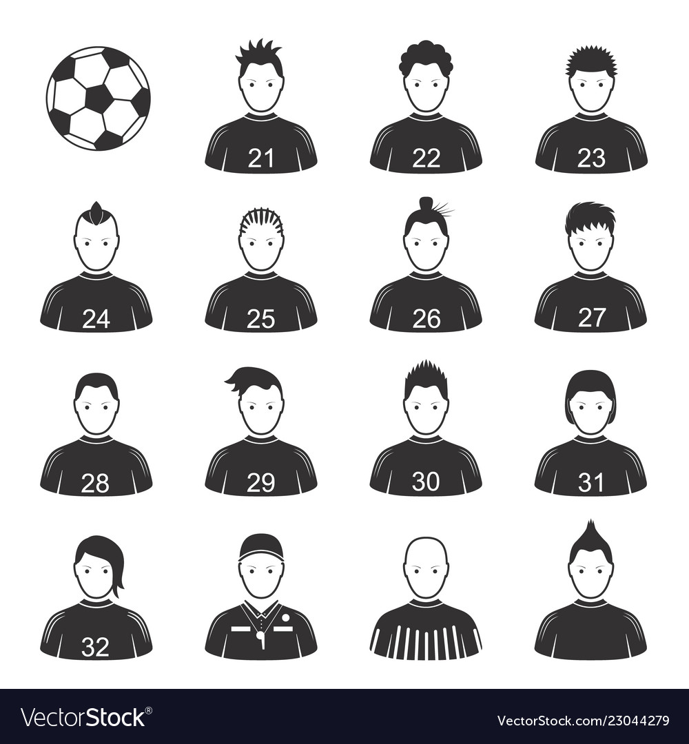 Cartoon black soccer players and ball icon set