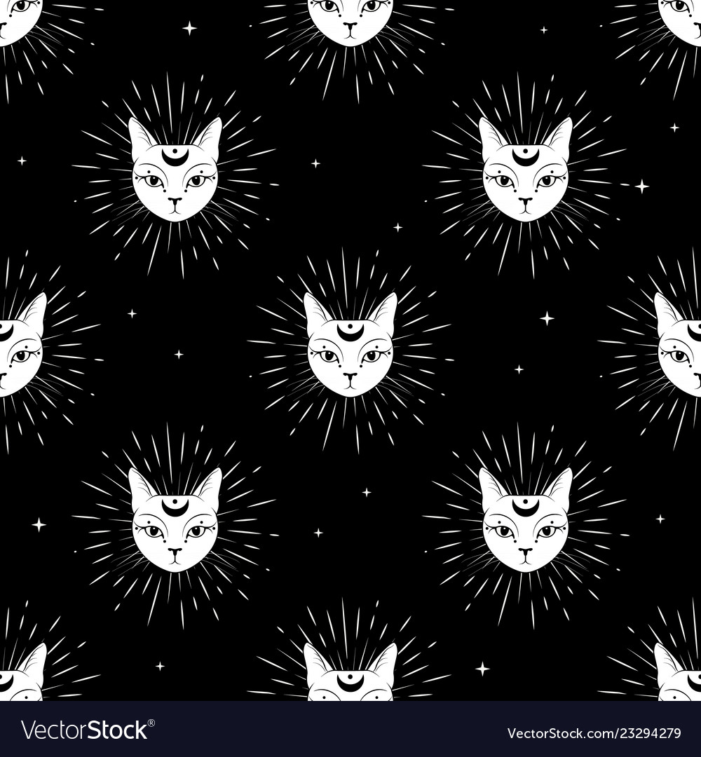 Cat face with moon on night sky seamless pattern