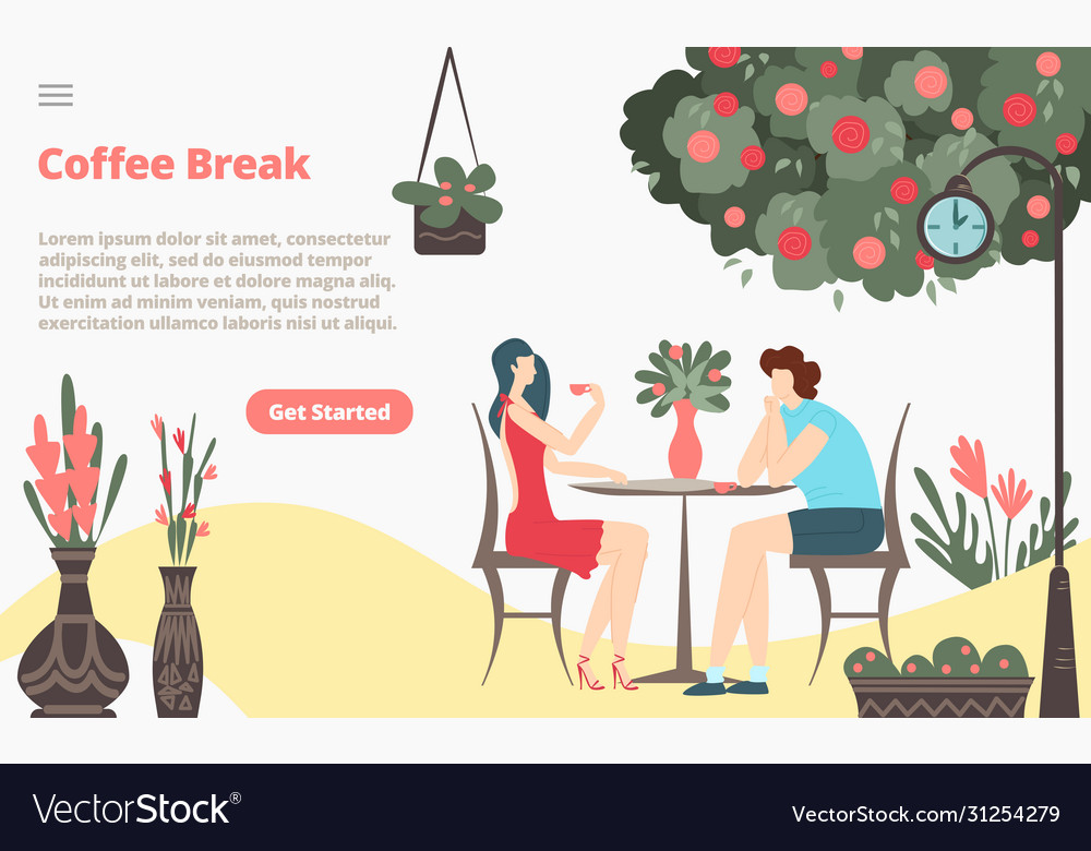 Coffee break with girl and boy couple sitting in