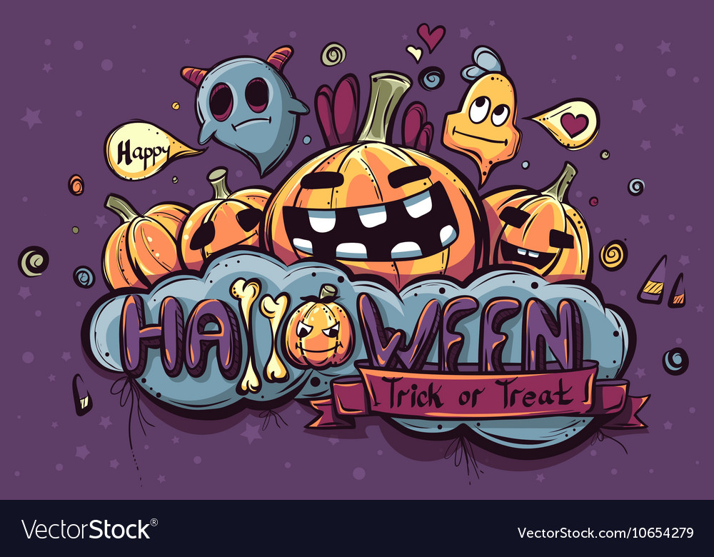 Colored hand drawn Halloween doodles