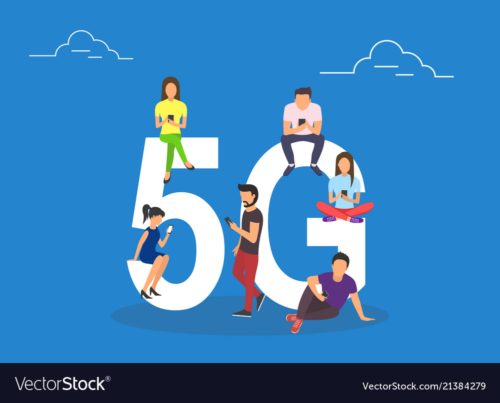 Flat people with gadgets sitting on the big 5g