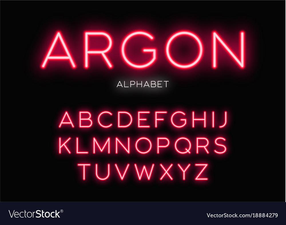 Glowing neon typeface design alphabet