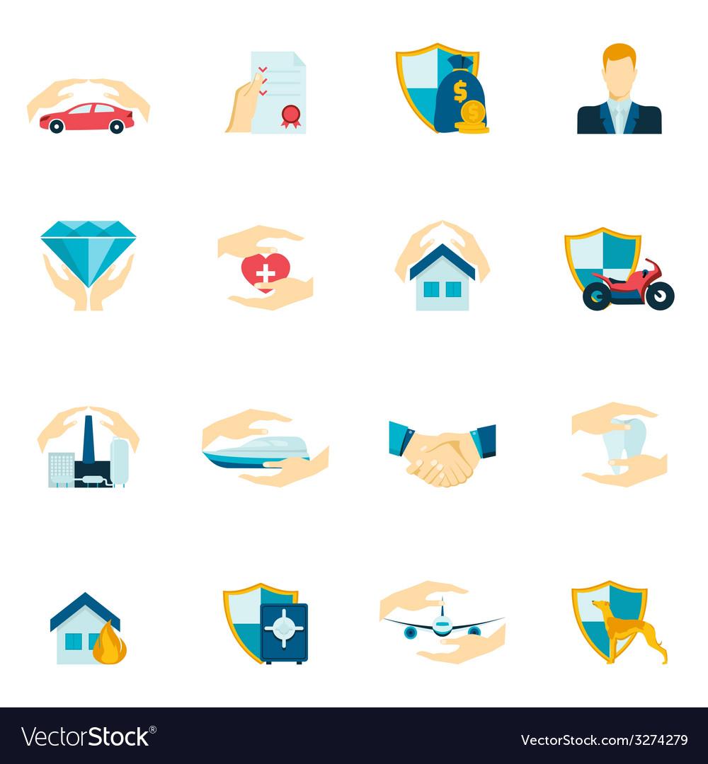 Insurance icons flat