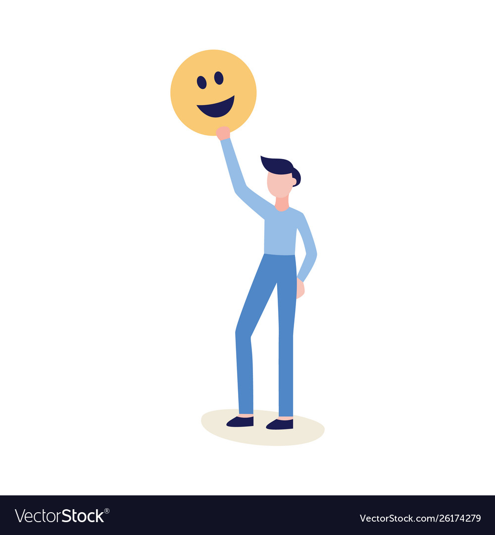 Man holding emoticon or smiley face icon