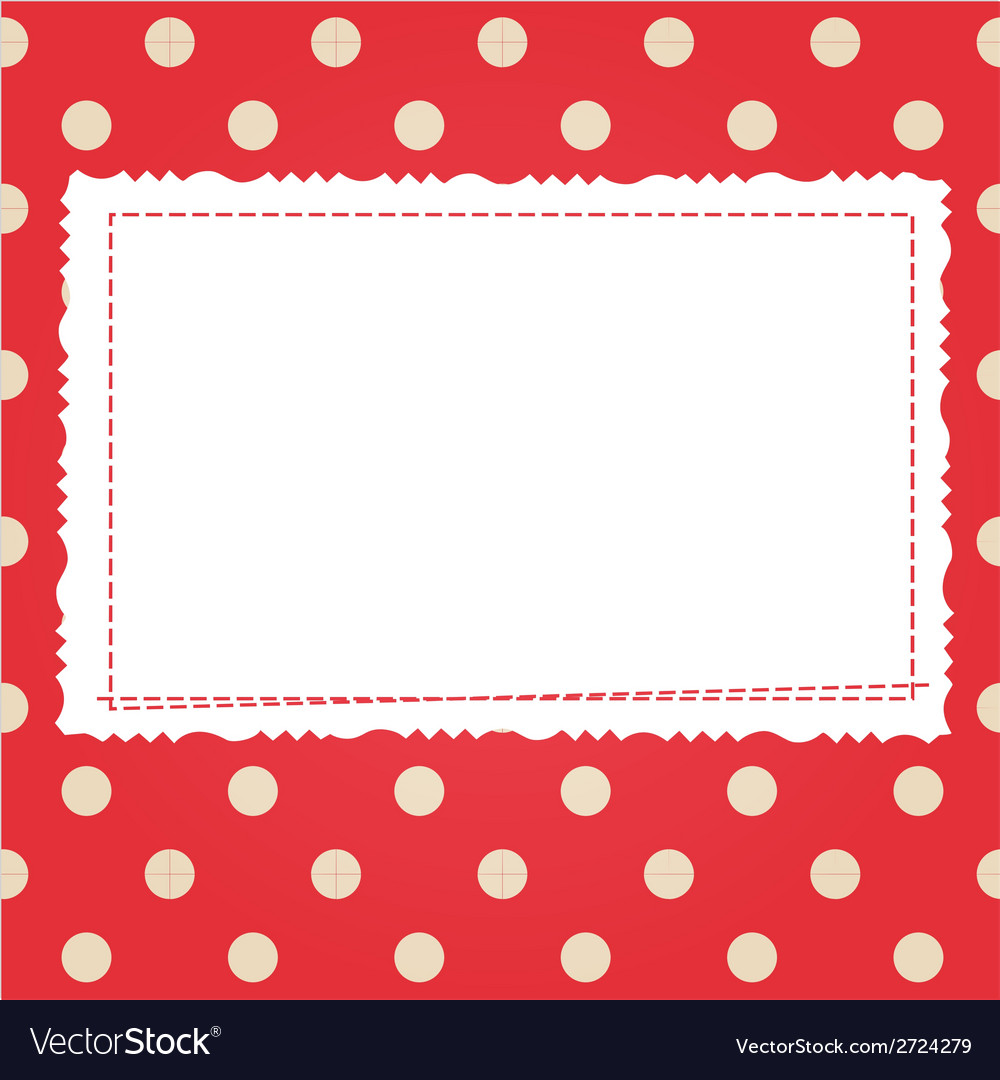 Scrap card with polka dot and frame Royalty Free Vector