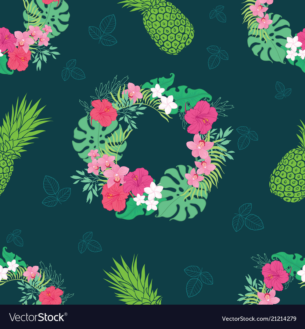 Tropical orchid hibiscus flowers wreath pattern