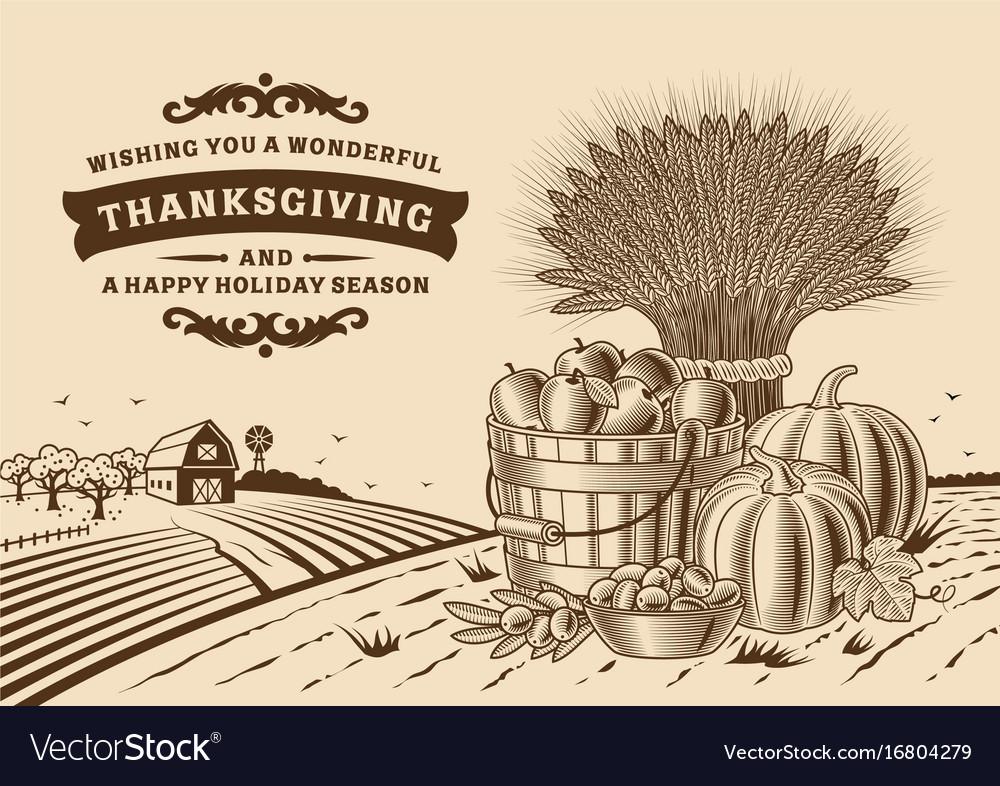 Vintage thanksgiving landscape brown