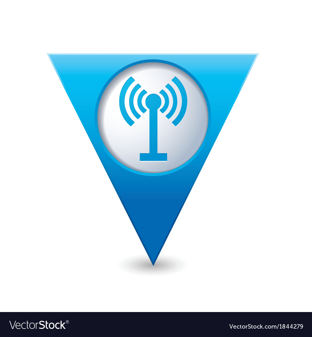 Wi fi icon map pointer blue