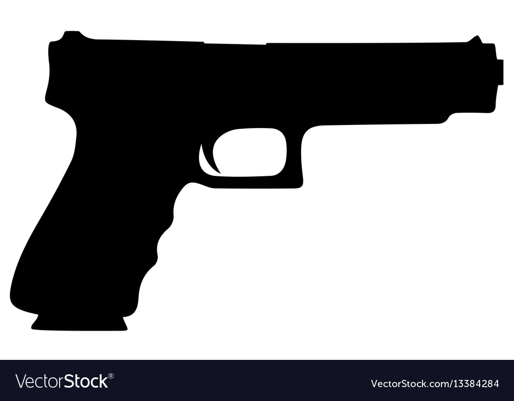 9 mm pistol and bullets color contour royalty free vector vectorstock