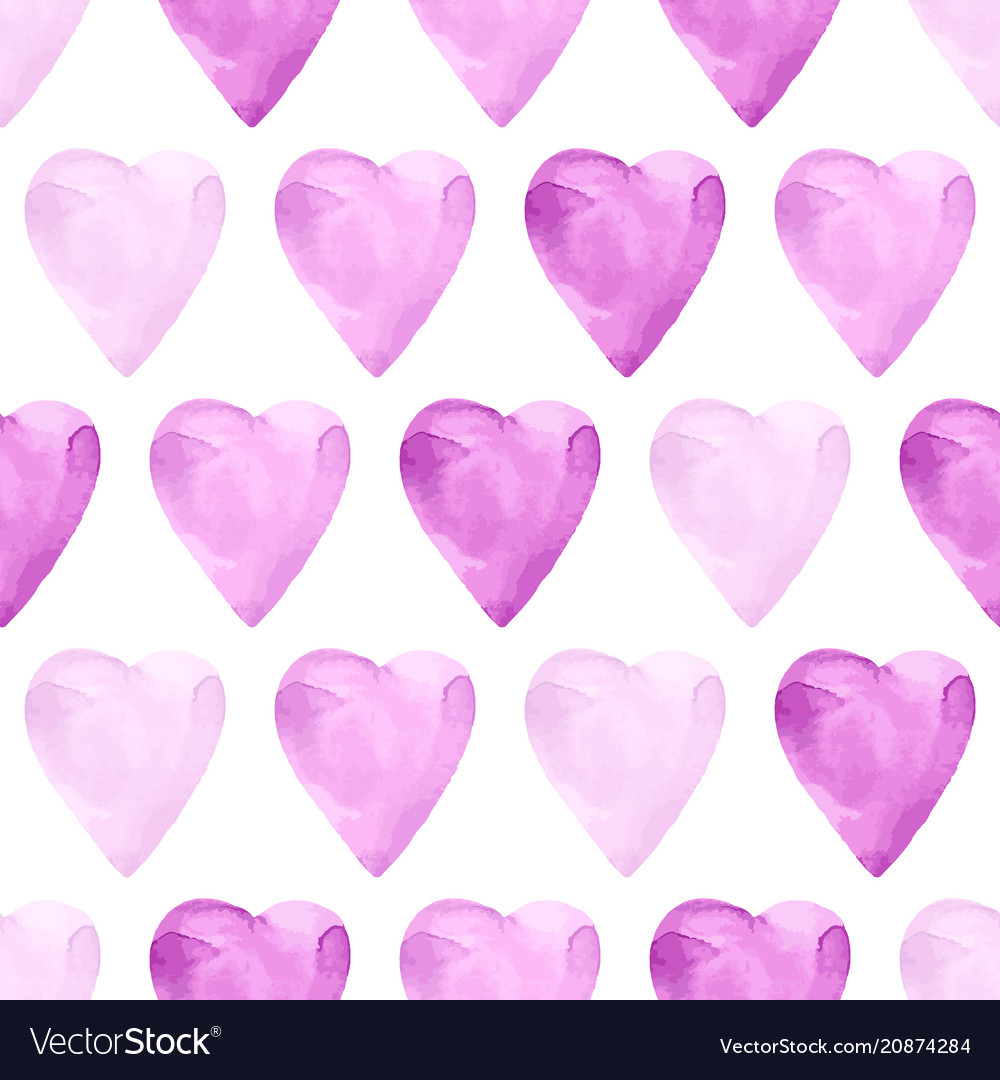 Aquarelle violet seamless pattern with hearts