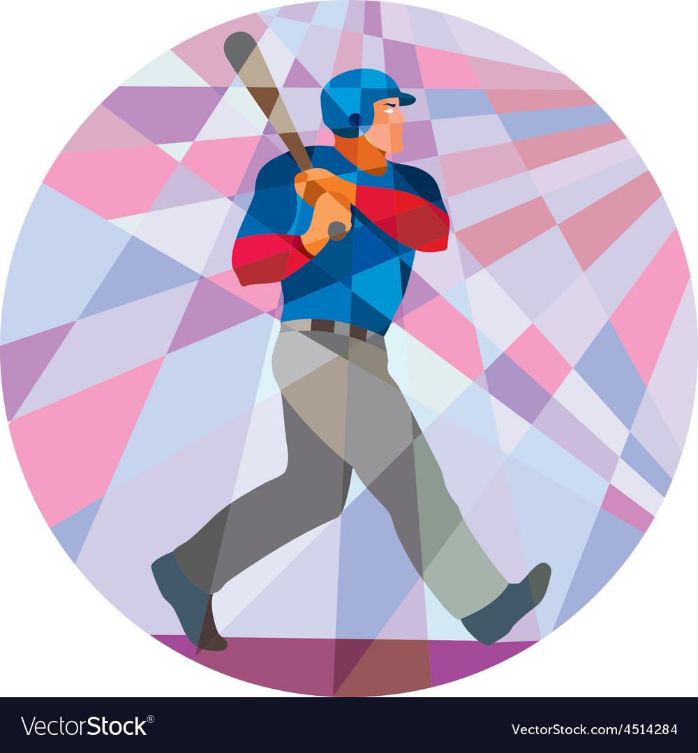 Baseball Batter Hitter Batting Low Polygon