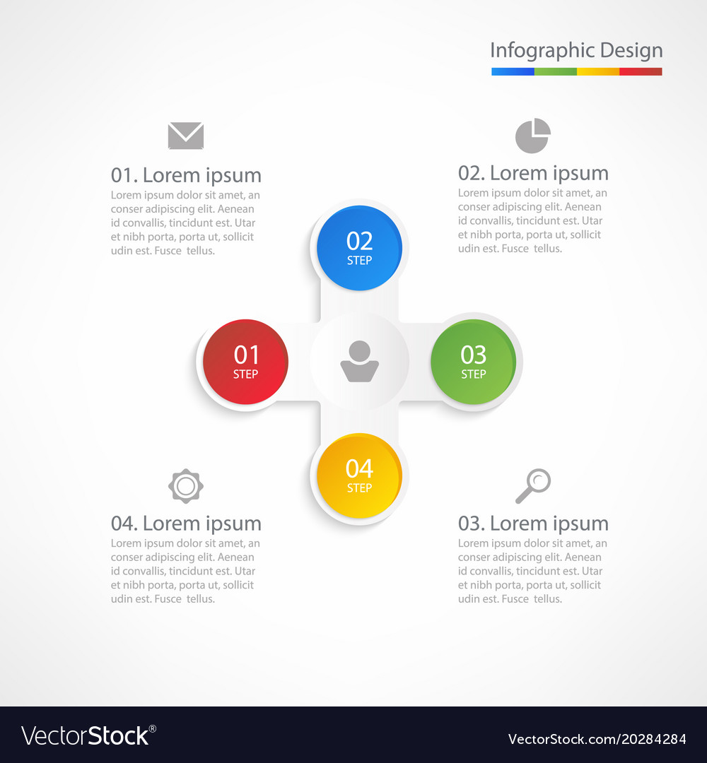 Business infographic design template with 4 steps