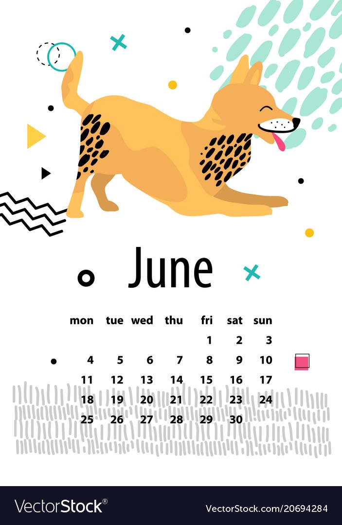 Calendar for june 2018 with playful foxterrier