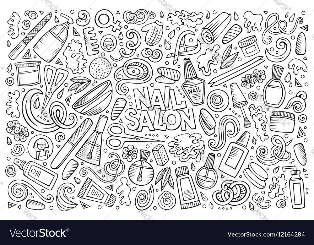 Cartoon set of Nail salon theme objects Royalty Free Vector