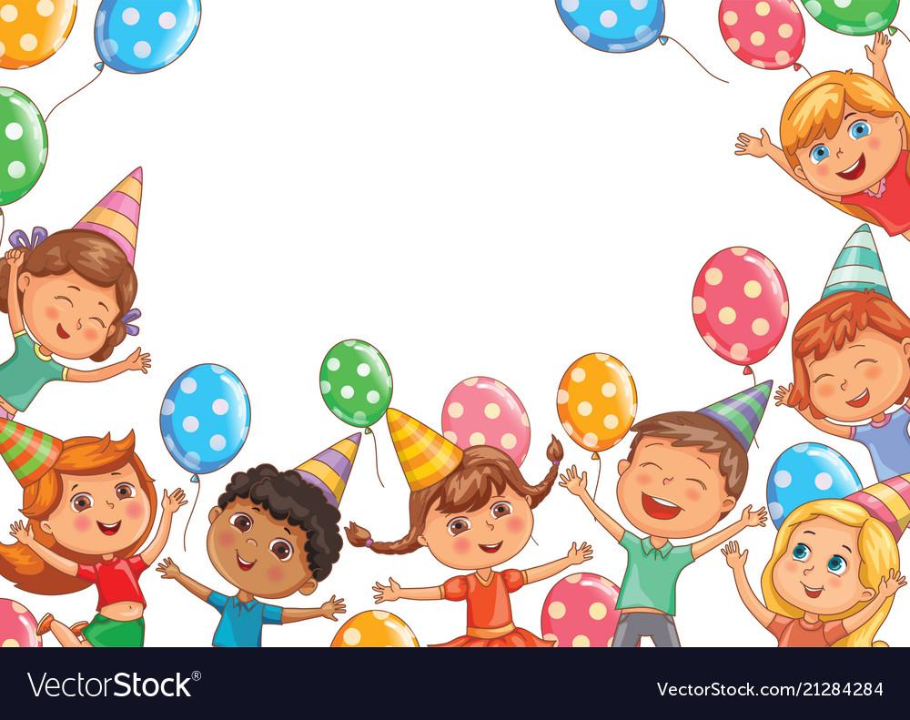 Cute kids joy balloons birthday birthday blank