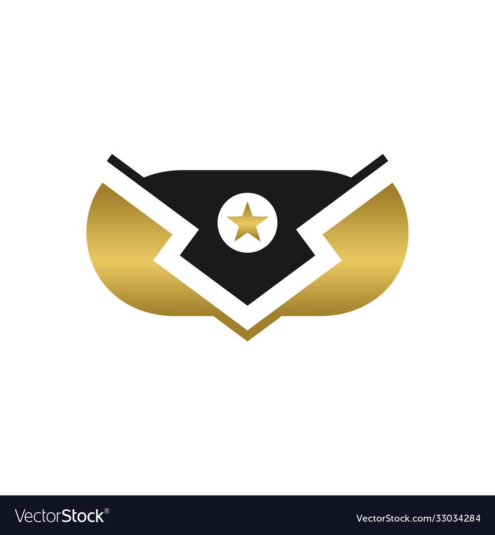 Modern gold shield logo