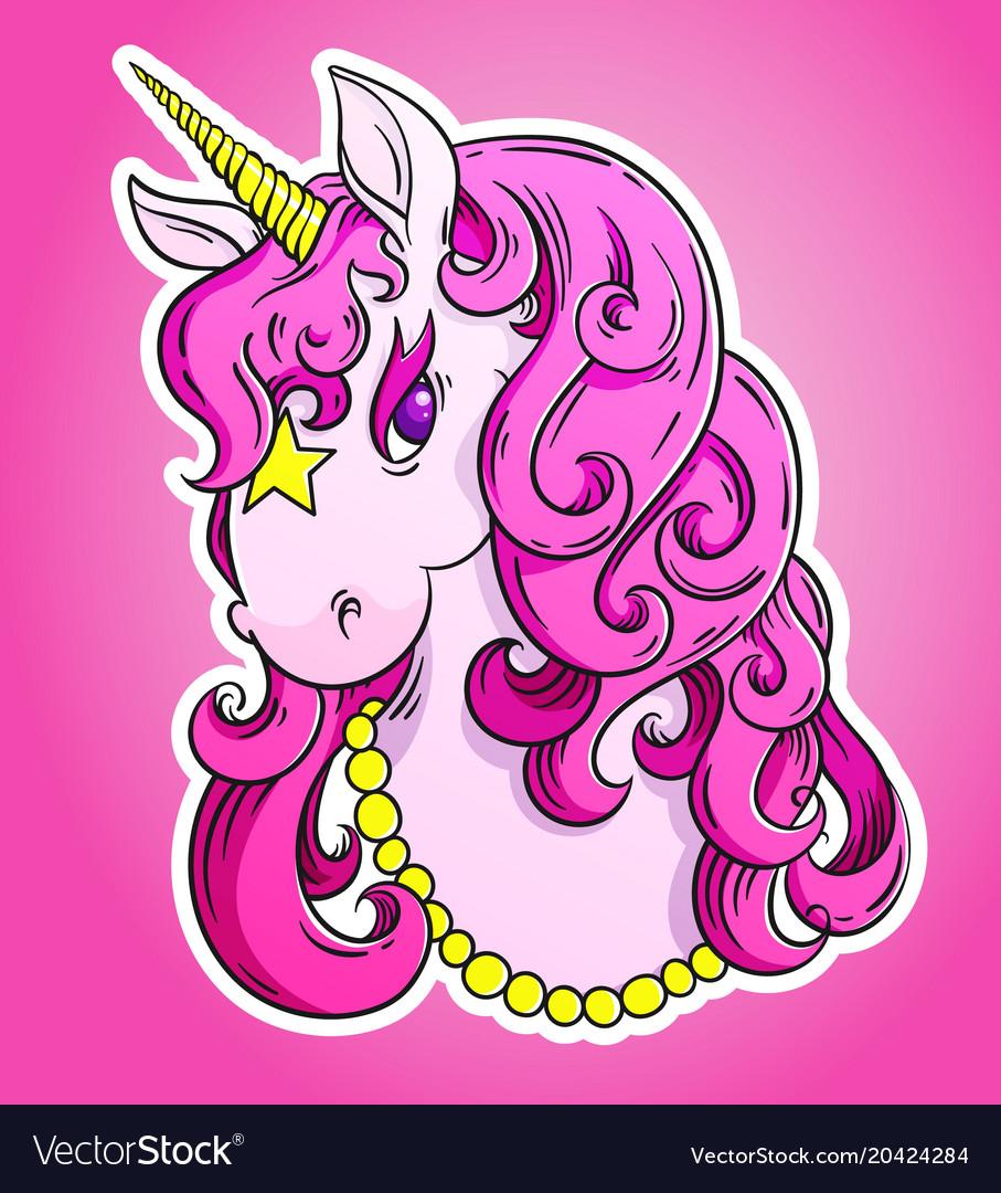 Pink unicorn head portrait