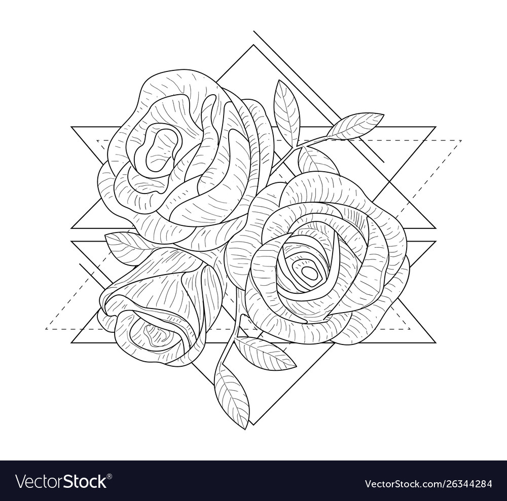 Rose flowers in triangle geometrical shapes hand