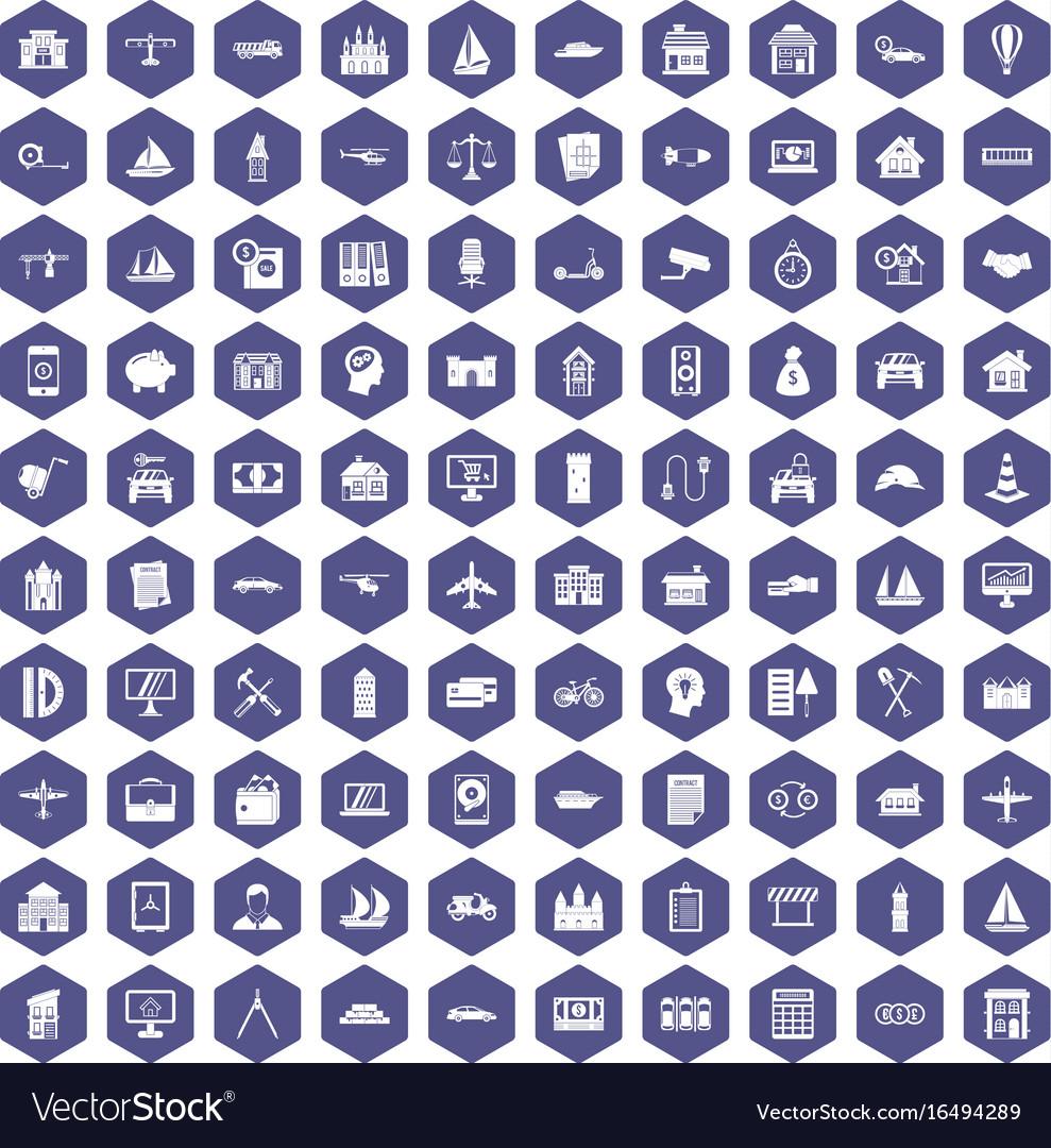100 private property icons hexagon purple