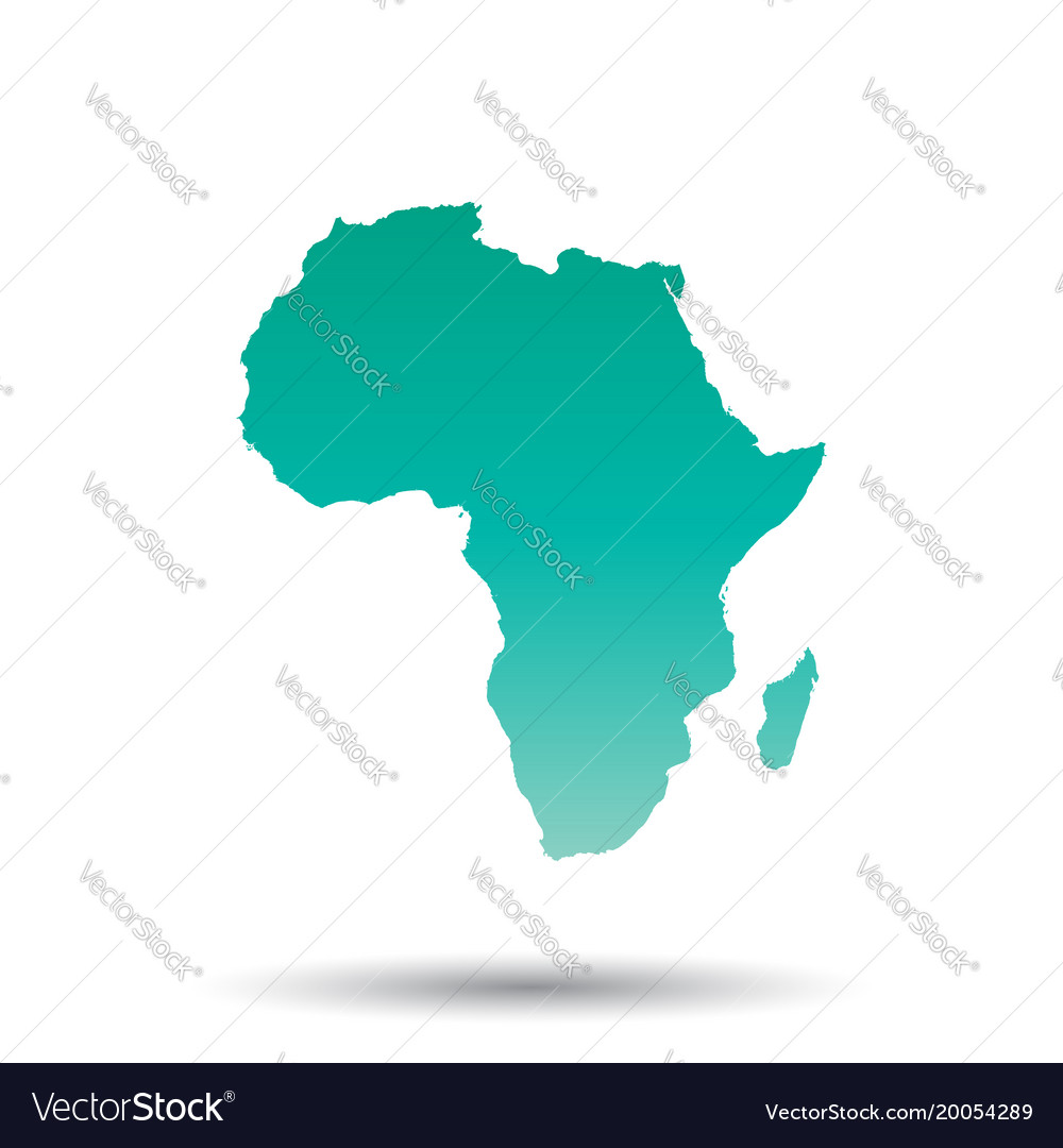 Colorful Map Of Africa.Africa Map Colorful Turquoise On White Isolated