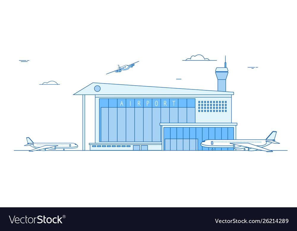 Airport buildings landing airplanes international
