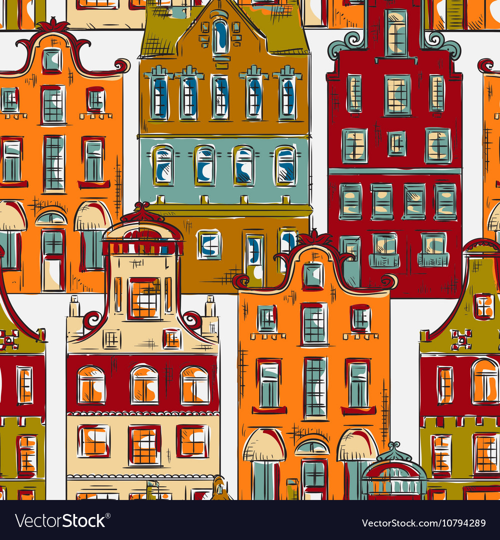 Amsterdam pattern with old historic buildings