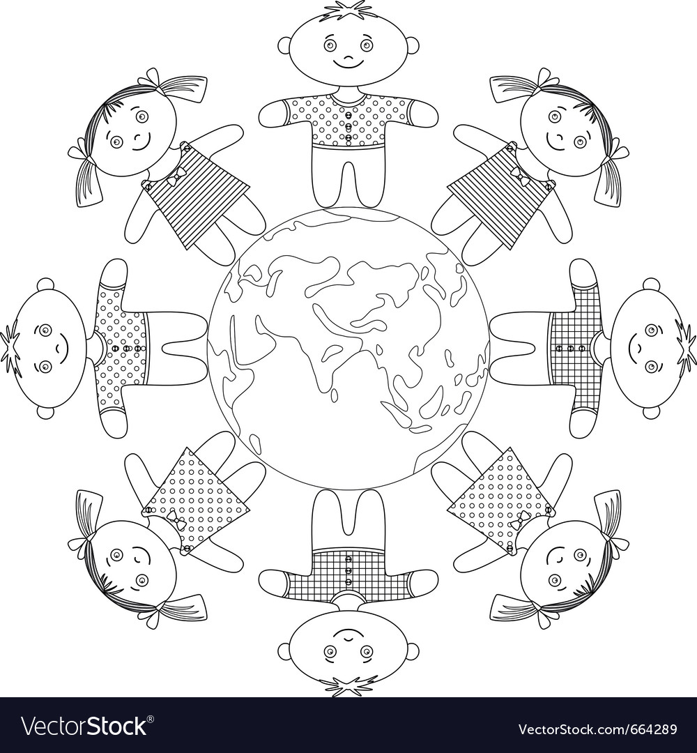 Children standing around earth contour