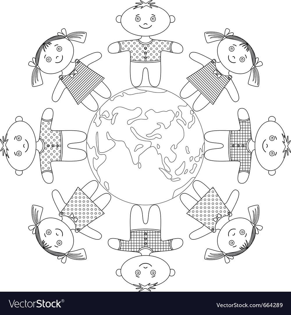 Children standing around earth contour vector image