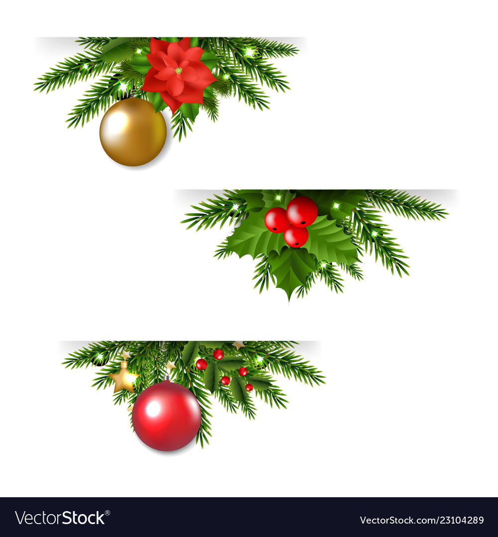 Christmas Garland Set White Background Vector Image On Vectorstock