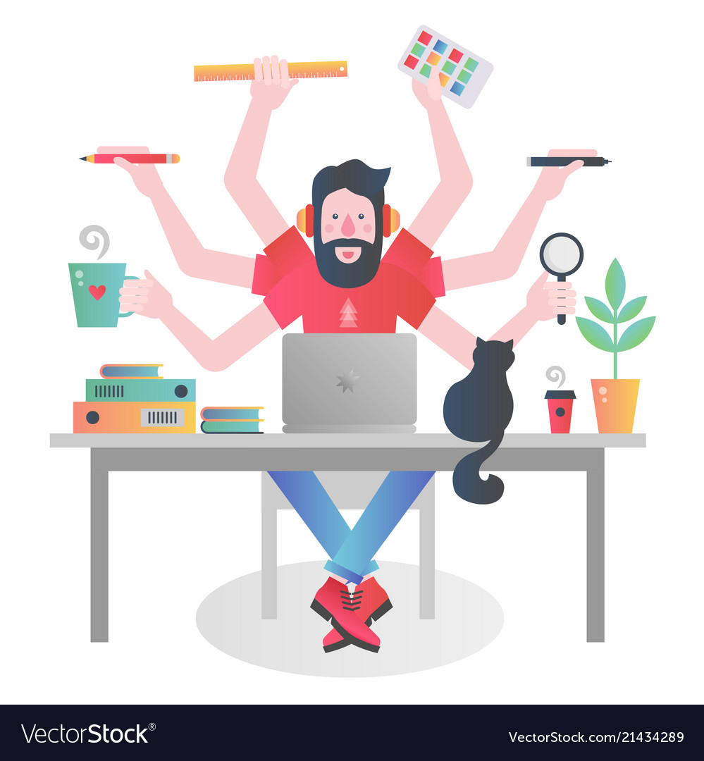 Colorful flat modern gradient character of man