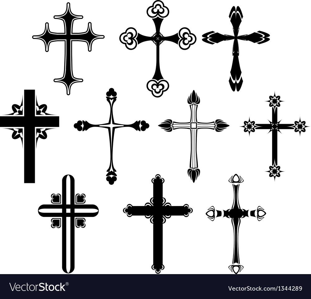 Cross symbol set vector image