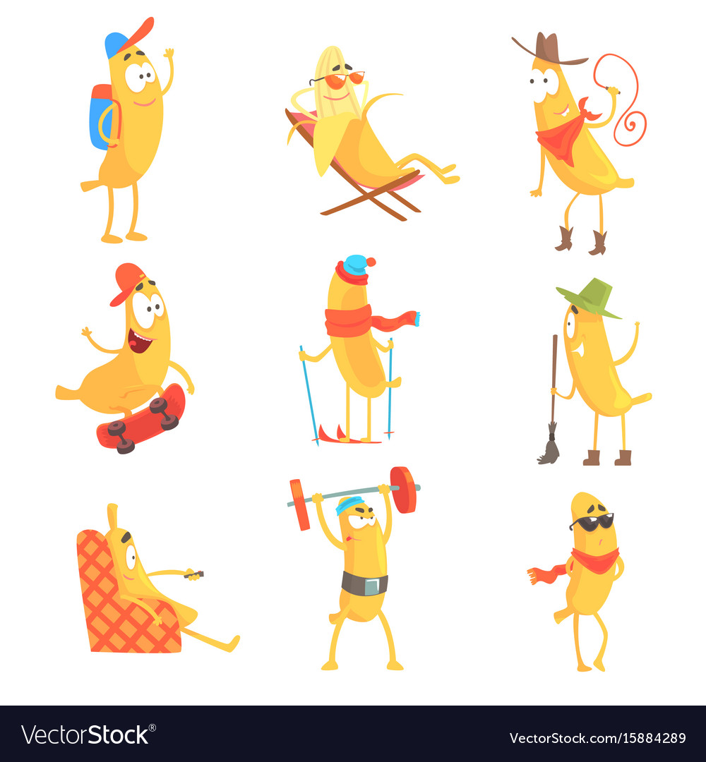 Cute happy humanized bananas in different actions
