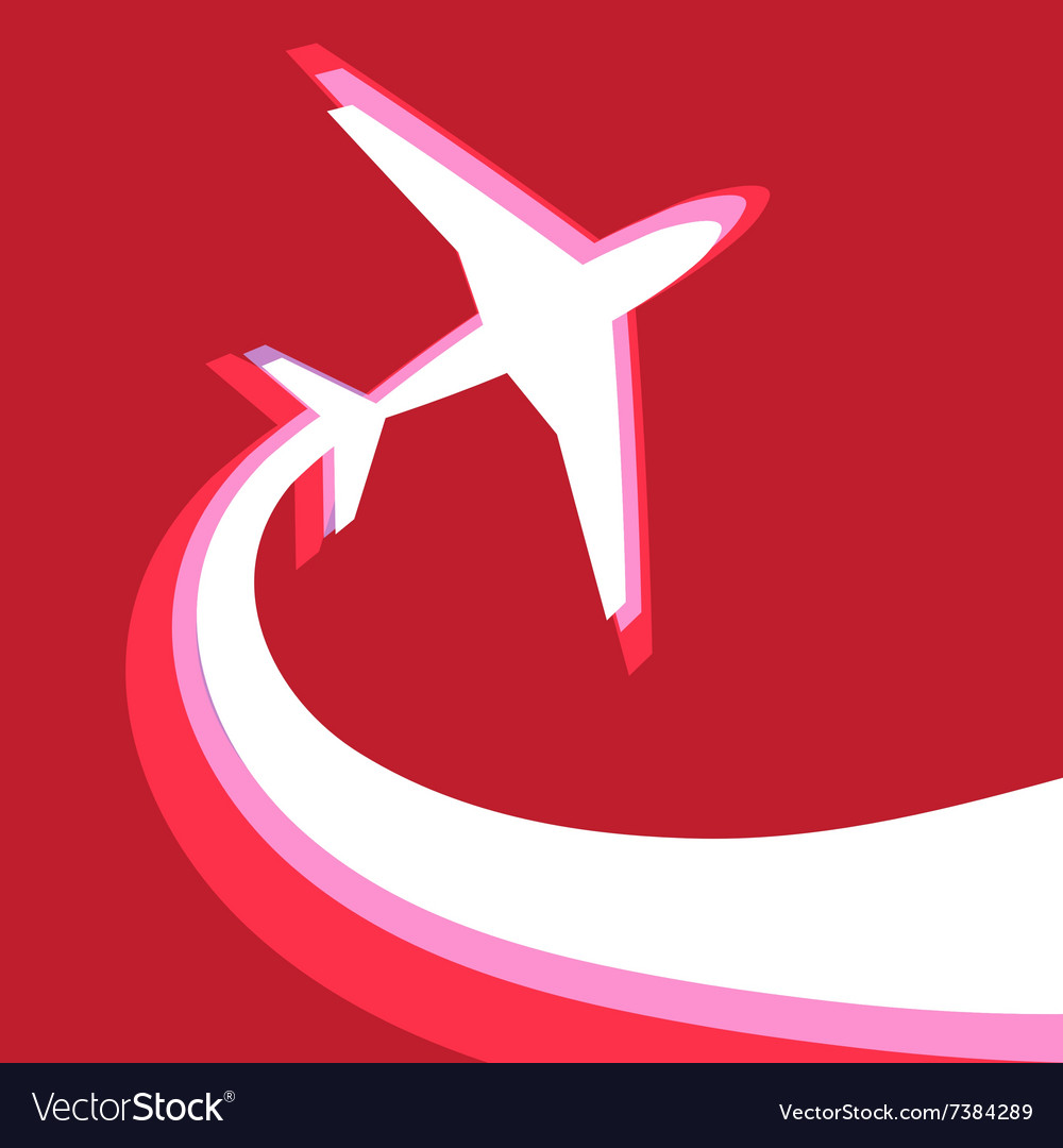Graphic symbol of an airplane on a red background