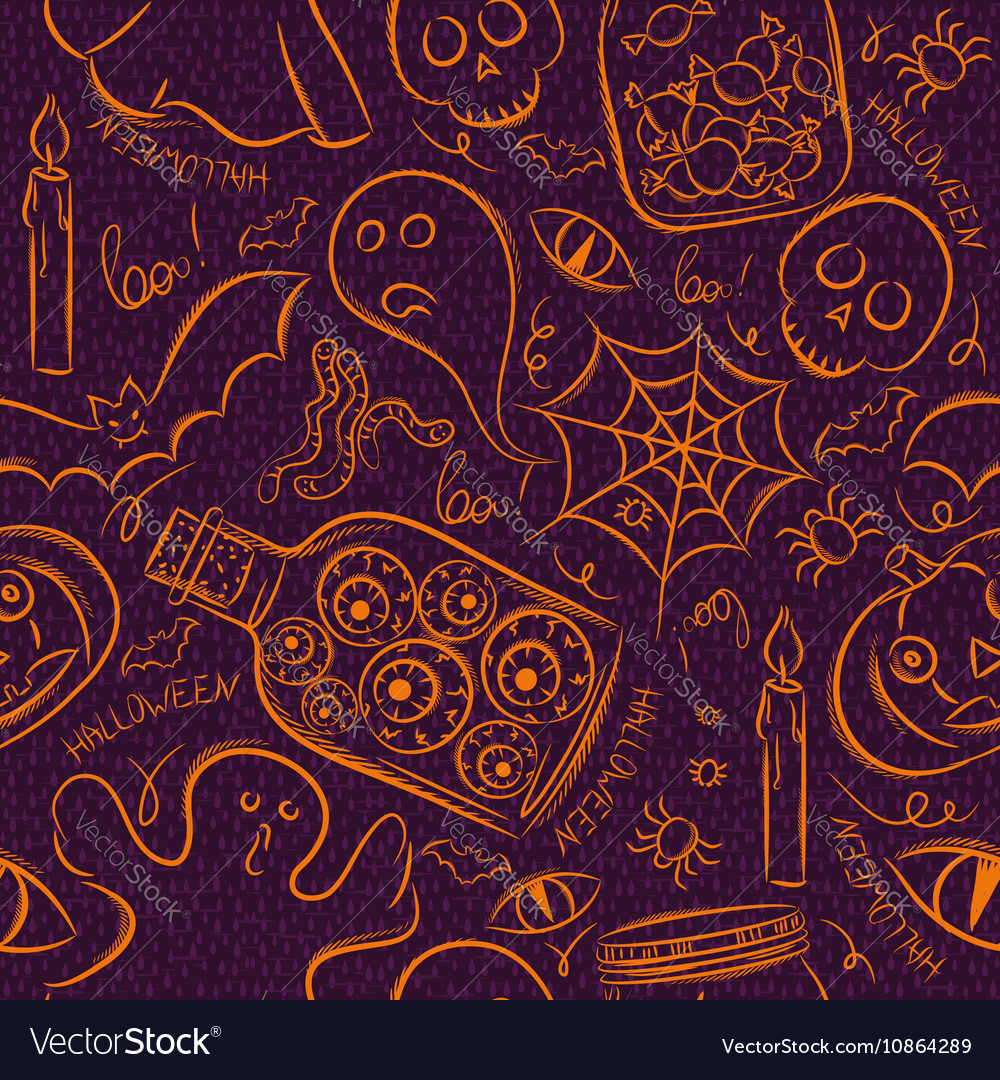 Halloween seamless Pattern with ghost skull