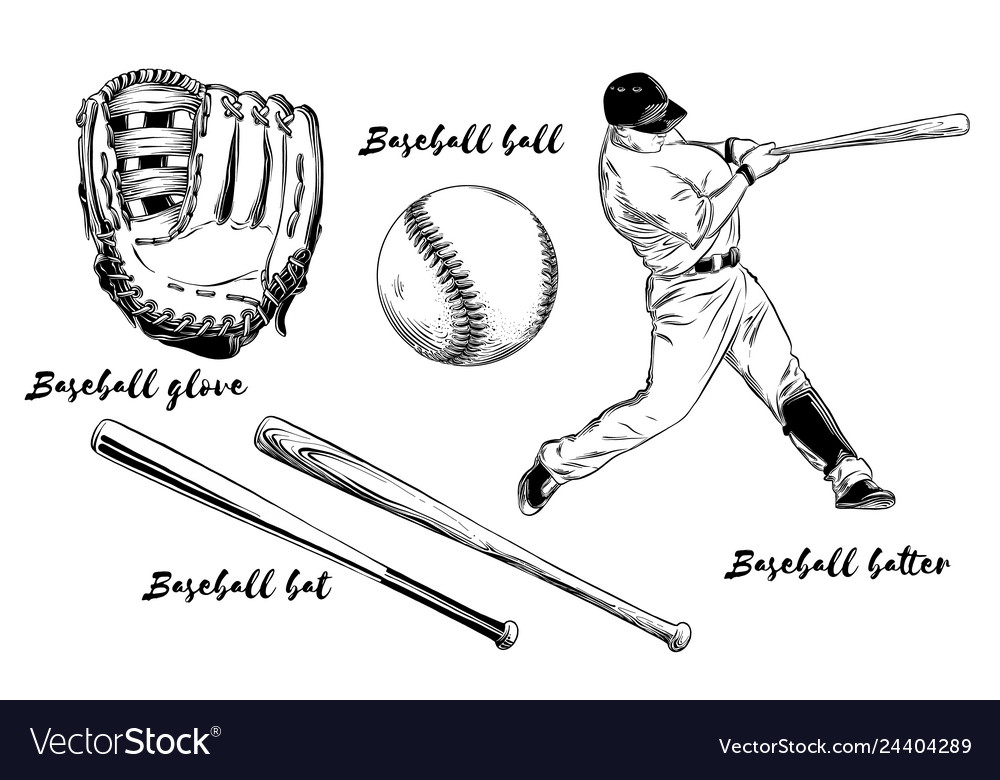Isolated baseball set on white background hand