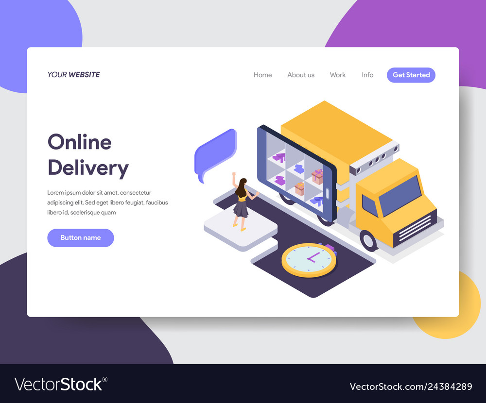 Landing page template of online delivery concept