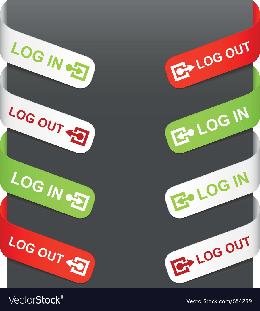 Left and right side signs - log in log out