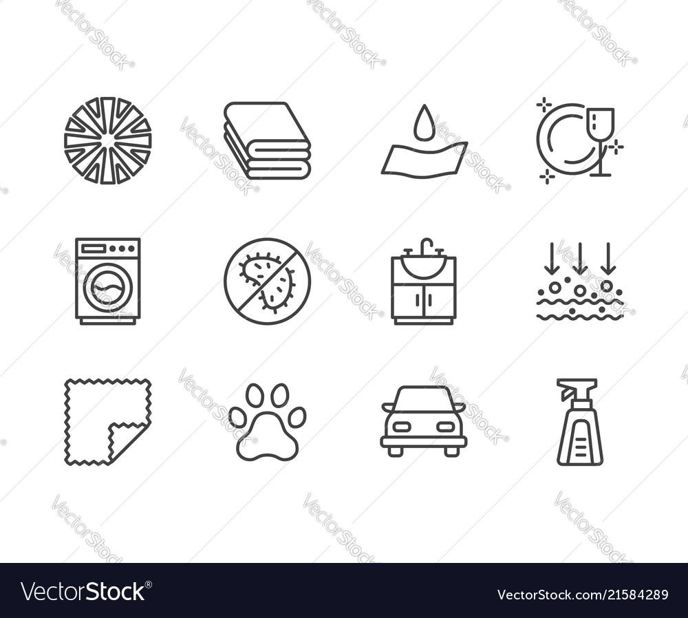 Microfiber cloth properties flat line icons