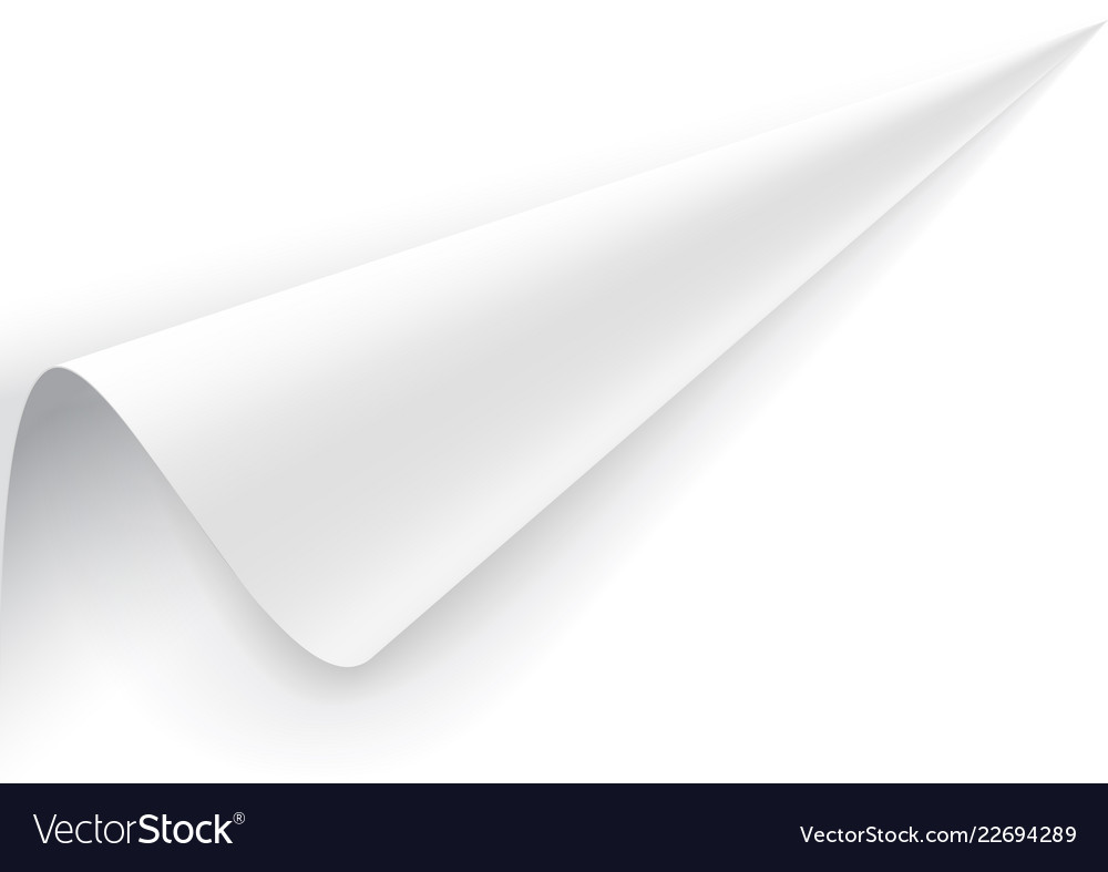 Paper with a wrapped up corner