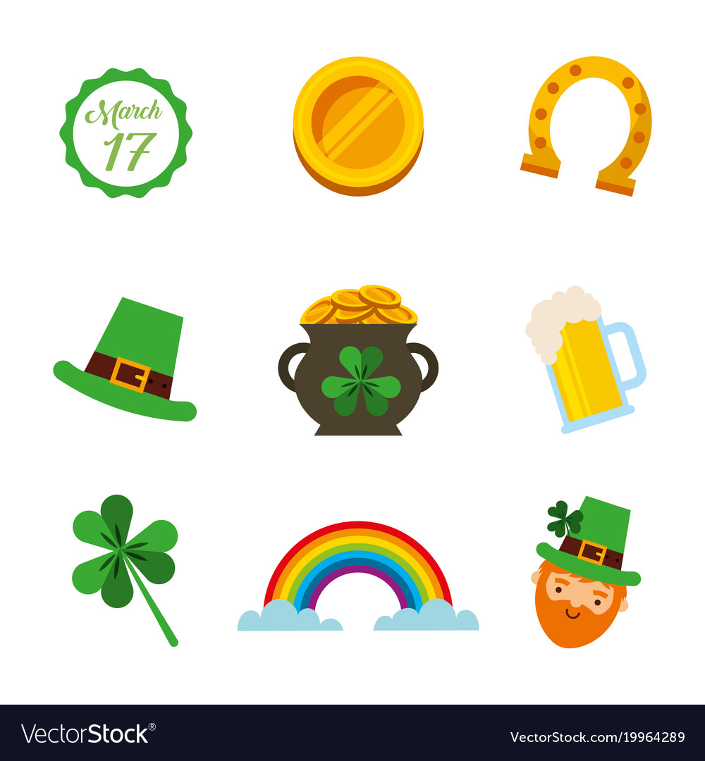 Saint Patricks Day Celebration Party Icons Symbol Vector Image