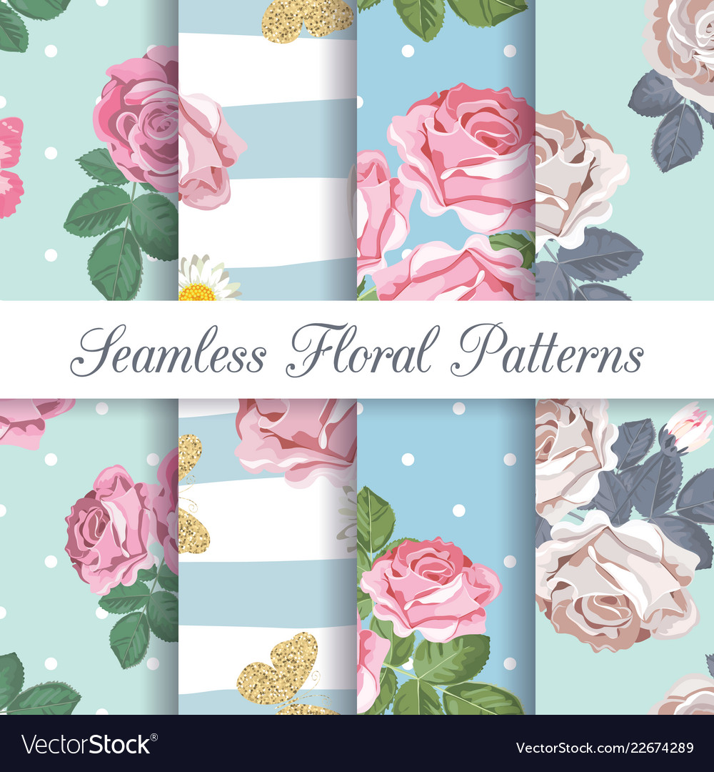 Set collection floral seamless patterns