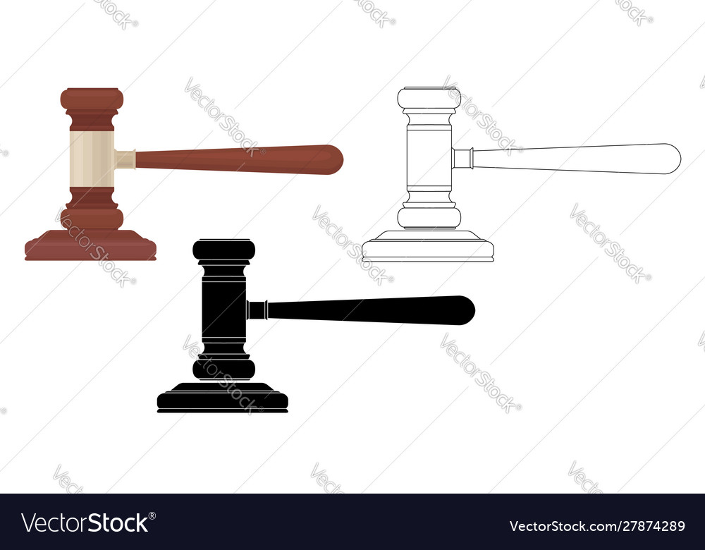 Set judges hammers flat silhouette and contour