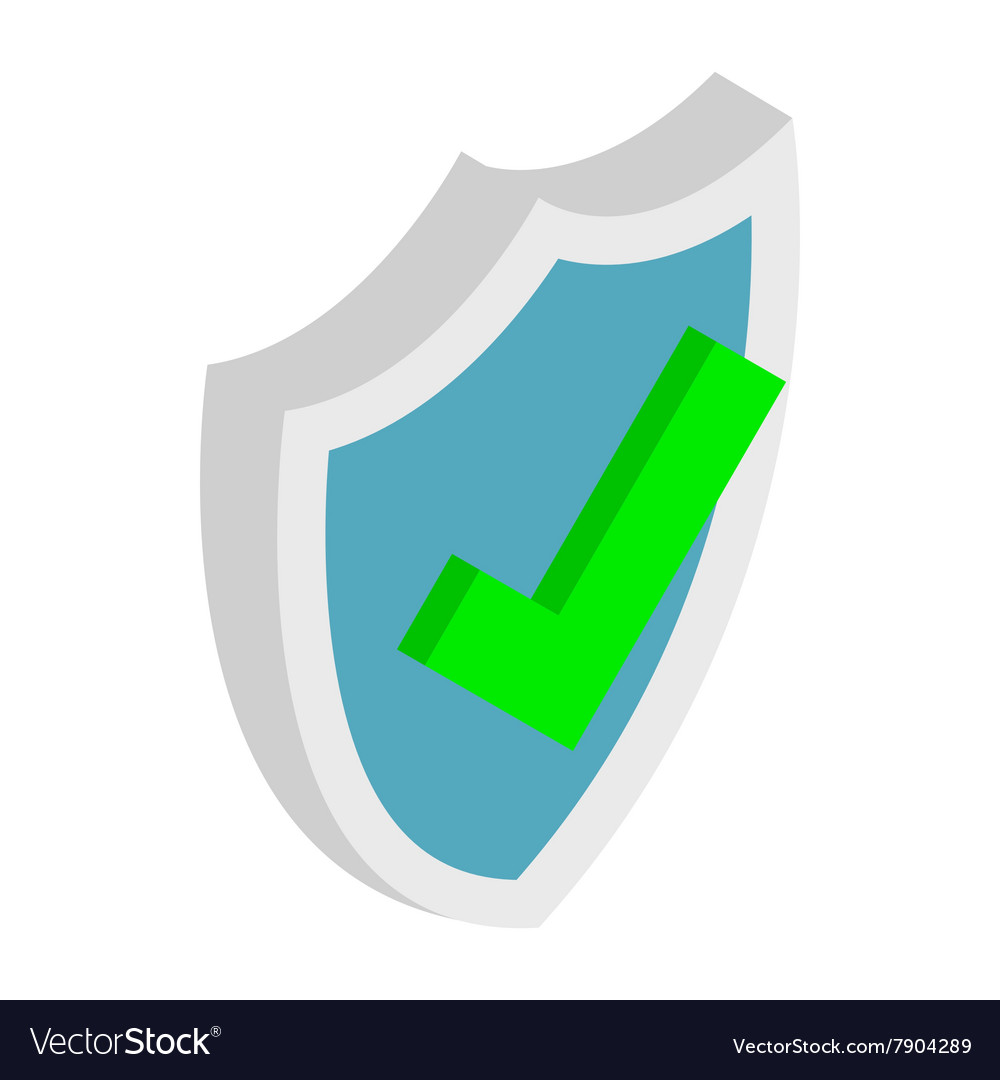 Shield with check mark icon isometric 3d style