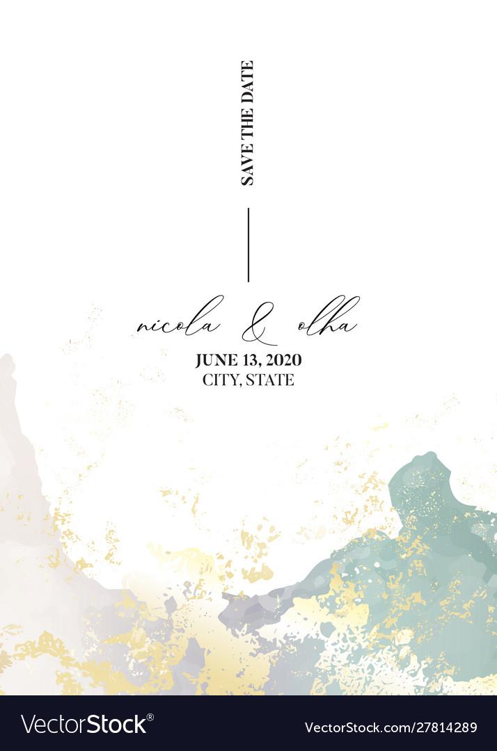 Soft tender wedding invitation marble watercolor